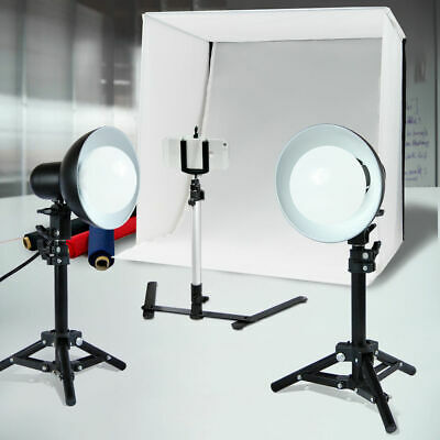 "Photo Studio 20"" Lighting Box Shooting Tent Cube with 2 LED Video Light Kit"