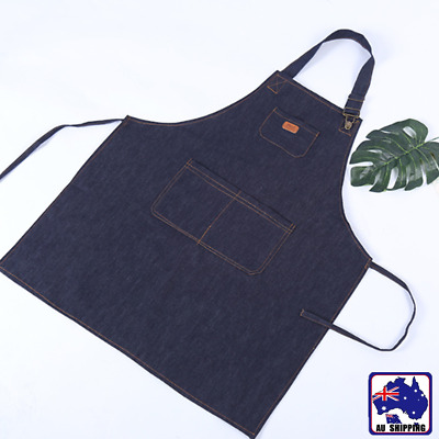 Denim Bib Working Apron w/ Front Pocket Cafe Barista Cooking Kitchen HKIAP1054