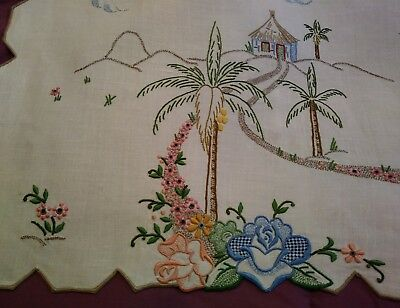 Beautiful Color Embroided and Cutwork Madeira Linen Runner 42 by 16 1/2 Inches