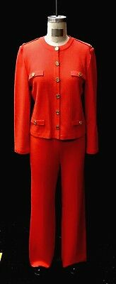 St. John by Marie Gray 2 Piece Orange Collarless Knit Pant Suit. Sizes 10/8