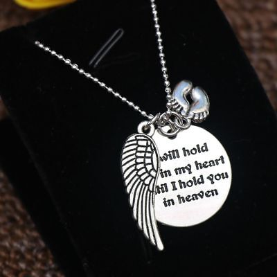 Mother Hold You in My Heart Baby Memorial Angel Necklace Heaven Pendant Popular