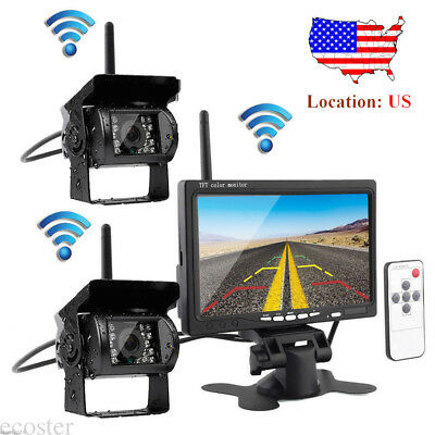 "For RV Truck Bus Van 2x Wireless Rear View Backup Camera Night Vision+7"" Monitor"