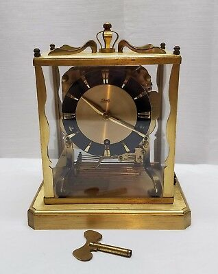 Vintage Schatz & Sohne 8 Day Triple Chimes Glass Brass Carriage Mantle Clock Key