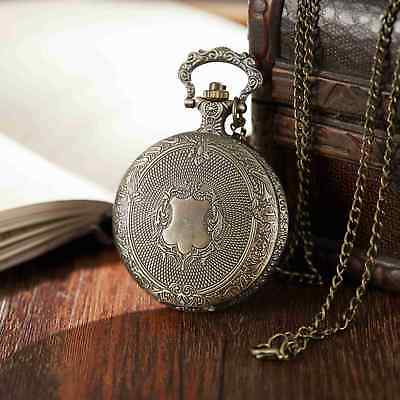 Vintage Carved Men Women Quartz Pocket Watch Necklace Watch With Fob Chain Gifts