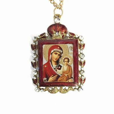 Madonna & Child Ornate Jeweled Icon Pendant Antique Finish Enamel Frame 2.75""