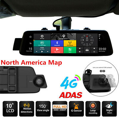 10'' 1080P HD Rearview DVR Navigator  4G WiFi Bluetooth Android5.1 GPS dual Cam