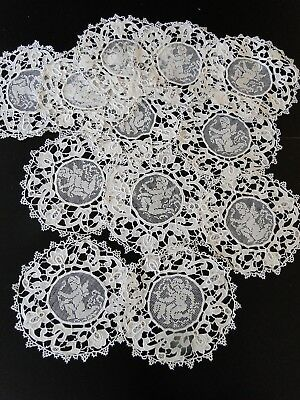 ANTIQUE LACE-CIRCA 1900's,LOVEY COASTERS W/CHERUBS,FILET AND NEEDLE LACE