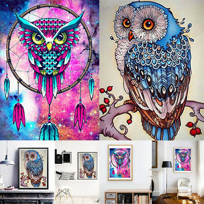 5D DIY Owl Pattern Diamond Painting Embroidery Cross Stitch Kit Craft Decor IW