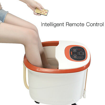 Foot Spa Bath Massager Temperature Control Heat Bubble Vibration with 4 Rollers