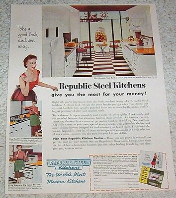 1954 vintage ad -Republic Steel kitchens lady Canton Ohio print Advertising Page