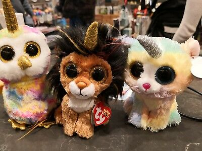 3 SET TY BEANIE BOOS Enchanted owl Heather cat Ramsey lion with horn -   28.99  f8c92107201c