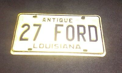 27 FORD antique license plate Louisiana Model t bucket coupe ratrod collectible
