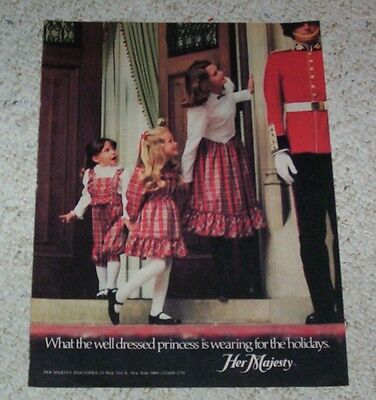 1982 print ad -Her Majesty little girl well-dressed princess dresses fashions AD