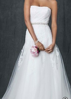 wedding dress ivory strapless tulle a-line gown with beaded appliques