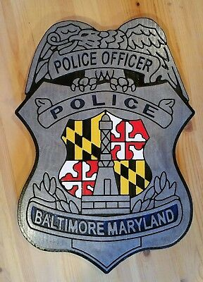 Police Baltimore Badge Sign routed carved patch plaque sign Custom