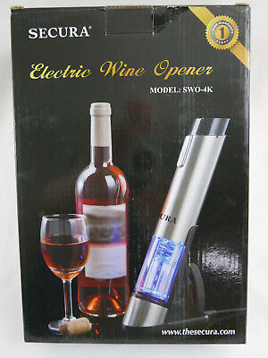 Secura SWO-3N Stainless Steel Electric Wine Opener Corkscrew Bottle Opener with