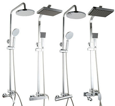 Bath Exposed Wall Mounted Chrome Luxury Thermostatic Shower Mixer Kit Twin Head