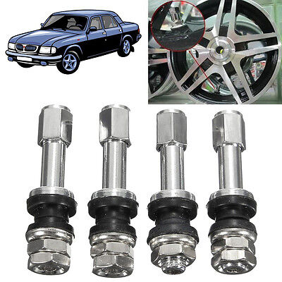4Pcs FLUSH MOUNT METAL/CHROME TIRE VALVE STEMS HIGH PRESSURE BOLT IN NEW