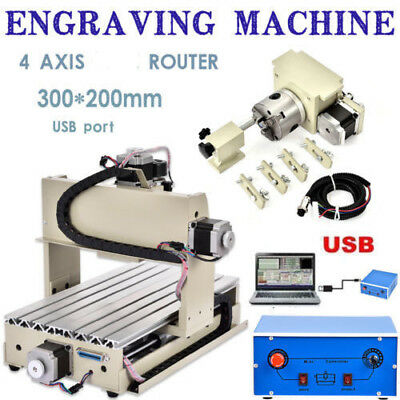 CNC Router Machine 4 Axis 3020T Engraving Machine with USB Function Woodworking