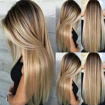 Women Ladies Ombre Blonde Brown Wig Long Straight Full Head Natural Hair Wig+Cap
