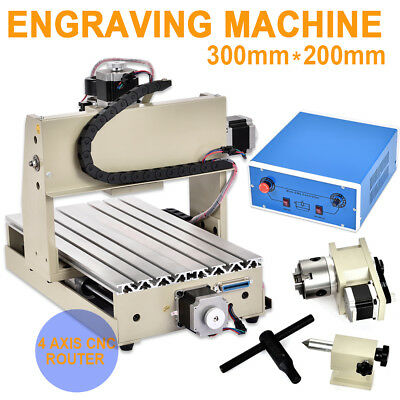 CNC Router 3020 Router Engraver Milling Carving Machine 300W 4 Axis 200x300mm US