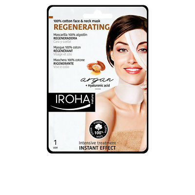 Cosmética Iroha mujer 100% COTTON FACE & NECK MASK argan-regeneration 1 use