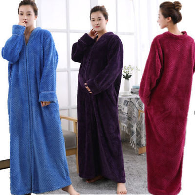 AU HOT Womens Ladies Fleece Bath Robe Dressing Gown Soft Long Cover Home Coats