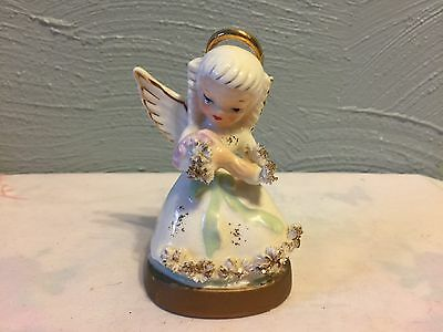 "VTG 1950th NAPCO Porcelain Spaghetti 4""  ANGEL w/Flowers #S1365"