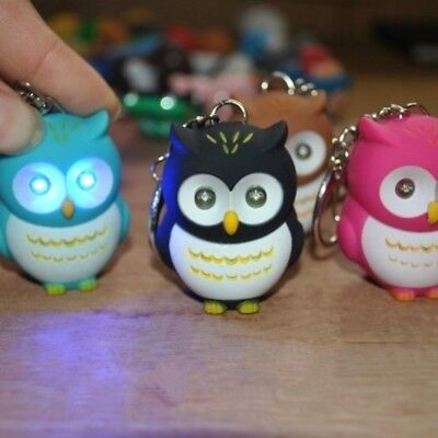 Cute Owl Keyring with LED Lights and Hooting Sound Novelty Key Rings Gift-OWL