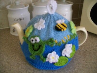 Hand Knitted Frog Tea  Cosy For A Medium Teapot 3-4 Cup Pot