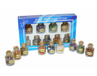 Semi Precious Gem Stone Collection Set of 9 Bottles Party Bags Wedding Favours