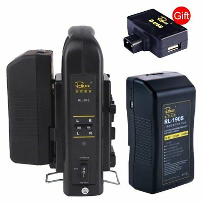 2PCS Rolux RL-190S 190Wh Sony V-mount Li-ion Battery + RL-2KS 2-Channel Charger