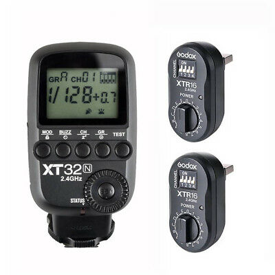 Godox XT32N 2.4G HSS Flash Trigger Transmitter for Nikon + 2PCS XTR-16 Receiver