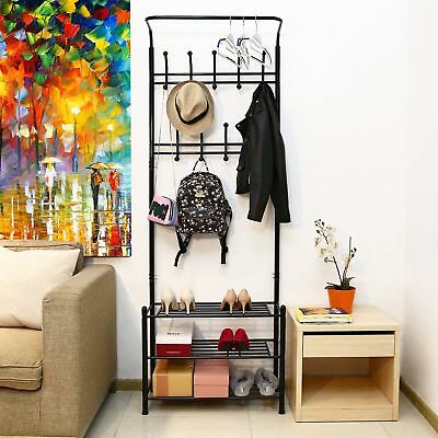 Metal coat hat rack clothes shoe storage stand shelves display heavy duty Homfa
