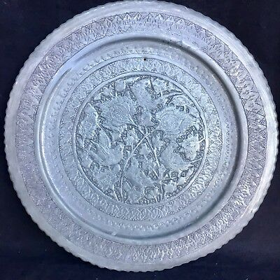 STUNNING Antique PEWTER CHARGER WALL PLATE Engraved & Stamped BIRD DESIGN