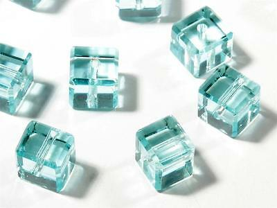 Lot (12) 7mm Czech rare antique faceted aqua blue cube glass beads Swarovski