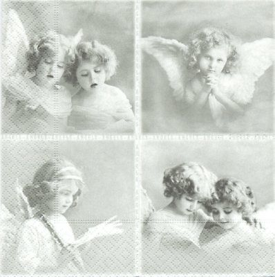 Lot de 2 Serviettes en papier Vignettes Anges Sagen Vintage Decoupage Collage