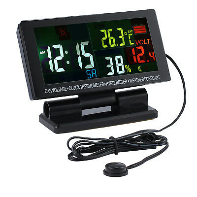 Digitale LCD Auto Uhr Wetter Temperatur Thermometer Hygrometer Spannung Alarm DE