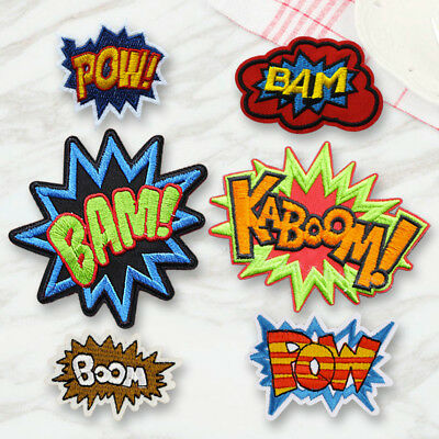 DIY Boom Pow Embroidered Sew On Iron On Patches Badge Fabric Applique Craft Gift