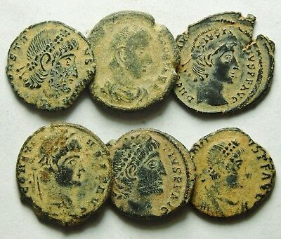 Selection Of Six Roman Bronze Coins (856F)