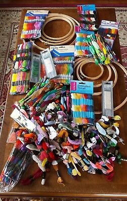 Massive Job Lot Embroidery Threads Floss Many Sealed Plus 9 x Wooden Rings Hoops