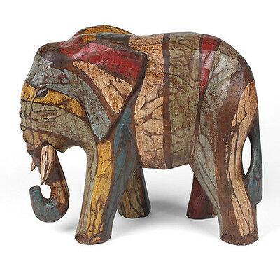 Elephant Wooden Shabby Chic Ornament Fair Trade 18cm Tall