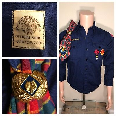 VINTAGE 60s CUB SCOUT SHIRT WITH PATCHES AND BADGES BANDANA CLIP RARE SANFORIZED