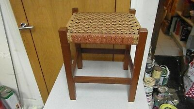 Traditional Vintage Style Wooden Stool with String Seat