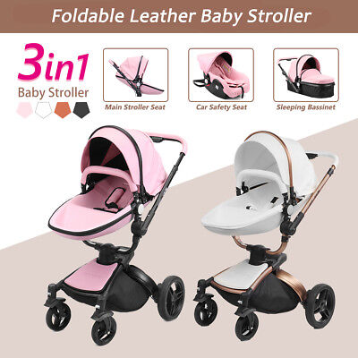 AULON 3 in 1 Baby Stroller leather Carriage Infant Foldable Travel Pram Car Seat