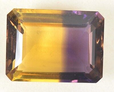 VVS Purple & Yellow 20.45 Ct Ametrine Emerald Cut GGL Certified Excellent Gem