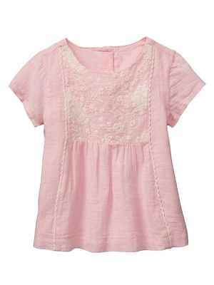 Baby Gap Girl's Pink & White Embroidered Short-Sleve Top Size 5T