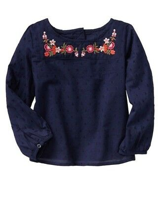 Baby Gap Girl's Navy Embroidered Long-Sleeve Top Blouse Size 18-24M 2T 3T 4T