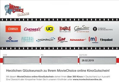 1x MOVIE CHOICE Kino Gutschein CINEMAXX, CINESTAR, Cineplex, online versenden