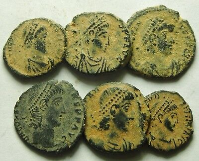 Selection Of Six Roman Bronze Coins (866F)